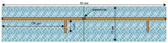 Структура микрополоскового усилителя на транзисторе на диэлектрической подложке