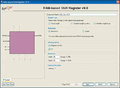 Стартовая диалоговая панель «мастера» настройки параметров ядра сдвигового регистра RAM-based Shift Register, реализуемого на основе распределенной памяти ПЛИС