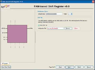 Вторая диалоговая панель «мастера» настройки параметров ядра сдвигового регистра RAM-based Shift Register, реализуемого на основе распределенной памяти ПЛИС