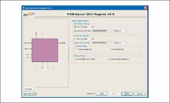 Заключительная диалоговая панель «мастера» настройки параметров ядра сдвигового регистра RAM-based Shift Register, реализуемого на основе распределенной памяти ПЛИС