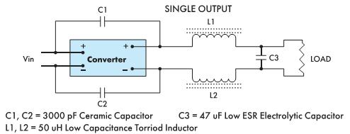 Рис. 5. Пример выходного фильтра, снижающего уровень шумов на 20 дБн для WP06R48S05(R)