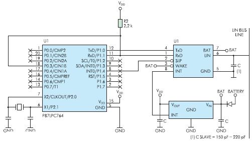 Рис. 3. Схема типичного включения TJA1020
