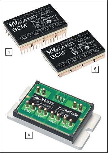 Рис. 5. Варианты исполнения модулей VI Chip:а) для монтажа отверстия; б) J-выводами; в) VI-BRICK
