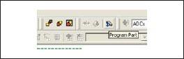 Меню PSoC Designer перехода в режим программирования или отладки
