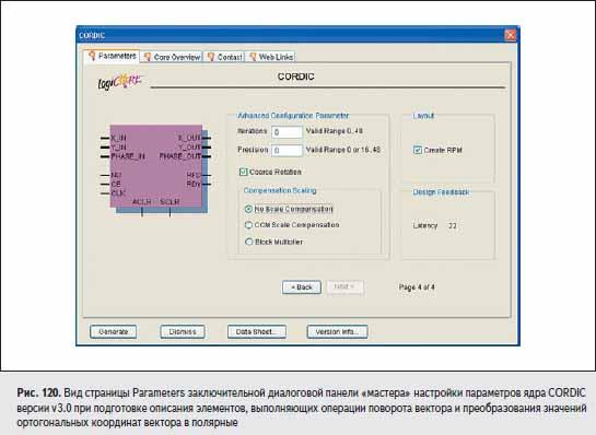 Вид страницы Parameters заключительной диалоговой панели «мастера» настройки параметров ядра CORDIC версии v3.0 при подготовке описания элементов, выполняющих операции поворота вектора и преобразования значений ортогональных координат вектора в полярные