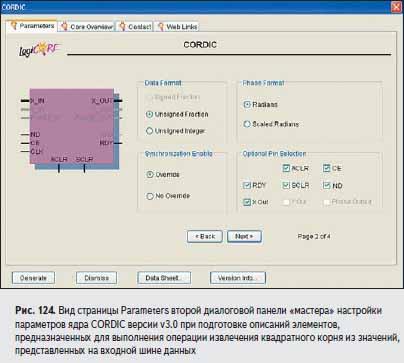 Вид страницы Parameters второй диалоговой панели «мастера» настройки параметров ядра CORDIC версии v3.0 при подготовке описаний элементов, предназначенных для выполнения операции извлечения квадратного корня из значений, представленных на входной шине данных