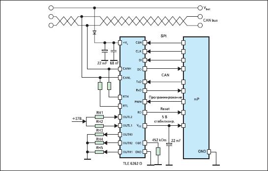 Схема включения микросхемы TLE6262G