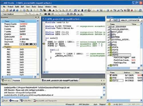 Окно AVR Studio в режиме симуляции проекта