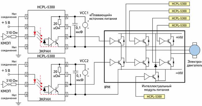 Типовая схема управления интеллектуальным модулем питания на базе оптрона HCPL-5300