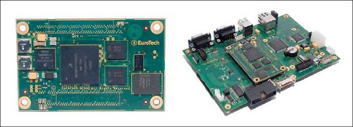Рис. 8. CoM-модуль Turbo G5: внешний вид и установка на плату-носитель