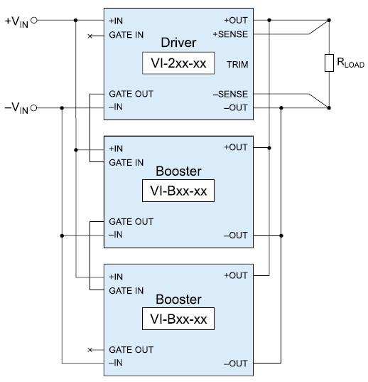 Схема соединения модулей Vicor для работы в режиме Power Sharing