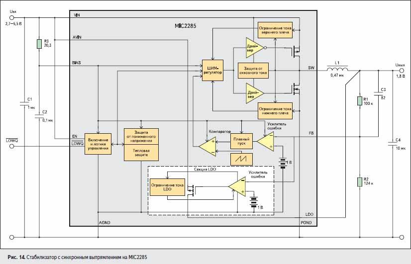 Стабилизатор с синхронным выпрямлением на MIC2285