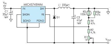 Рис. 10. Термокомпенсированный генератор отрицательного напряжения на MIC4574 для жидкокристаллических индикаторов