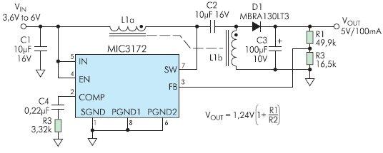 Рис. 11. Включение MIC3172 в конфигурации SEPIC