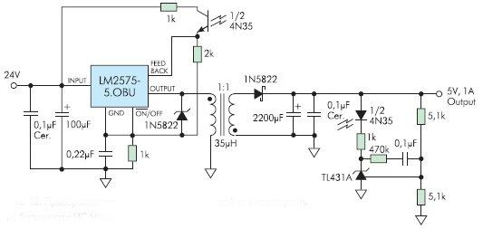 Рис. 12. Преобразователь с гальванической развязкой можно построить на большинстве ИС Micrel