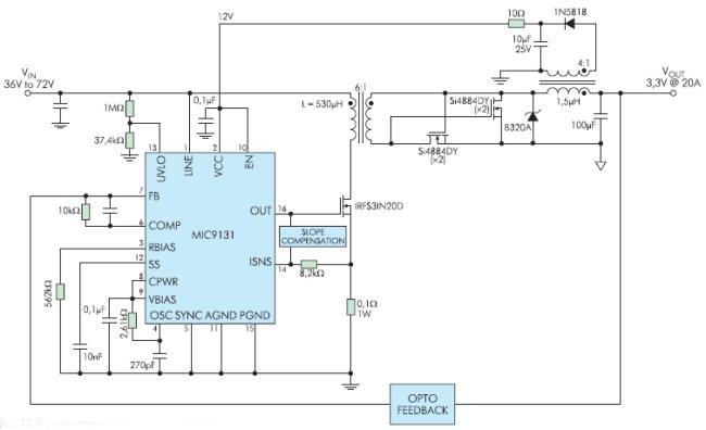 Рис. 13. Вариант источника питания 60 Вт и КПД 90% для телекоммуникационных систем на MIC9131
