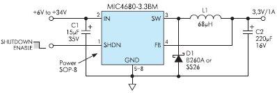 Рис. 2. Для стабильной работы MIC468x необходим минимум внешних компонентов