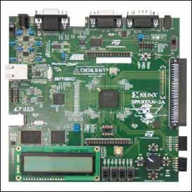 Внешний вид инструментального модуля Xilinx Spartan-3A Starter Board версии REV C (вид сверху)