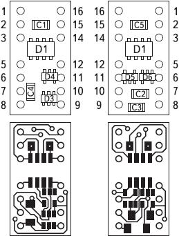 Рис 27. Вариант разводки платы гальванически изолированного преобразователя интерфейса ADUMAX на базе ADUM1201, ADUM1200, MAX3181 и MAX3190