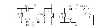 Схема электрическая эквивалентная одного кристалла: а) BB4130/BB4131, б) ДТПТ1