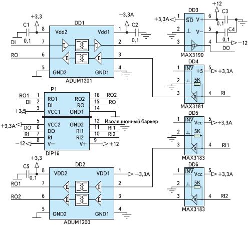 Рис. 30. Схема гальванически изолированного преобразователя интерфейса ADUMAX1 на базе ADUM1201, ADUM1200, MAX3181, MAX3183 и MAX3190