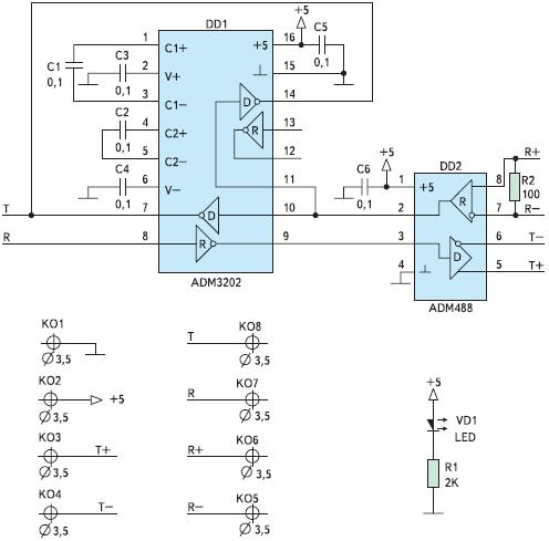 Рис. 36. Схема двунаправленного преобразователя RS-232↔RS-485/RS-422