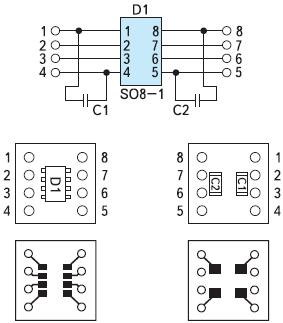Рис. 19. Вариант разводки платы-переходника SOIC8→DIP8 для развязки ADUM1201 (слева — верхний слой монтажа микросхемы, справа — нижний слой платы)