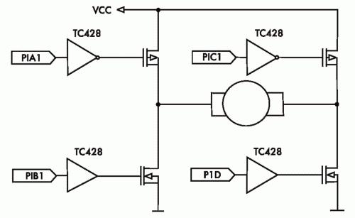 Рис. 3. Реверсивное управление коллекторным двигателем постоянного тока с использованием модуля ЕССР