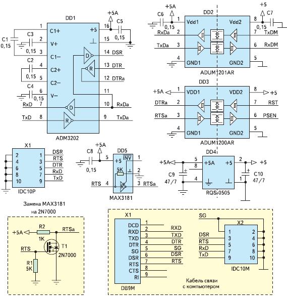 Рис 22. Схема гальванической развязки на базе ADUM1201, ADUM1200 и преобразователя интерфейса ADM3202 для микроконтроллеров семейства MSC12XX