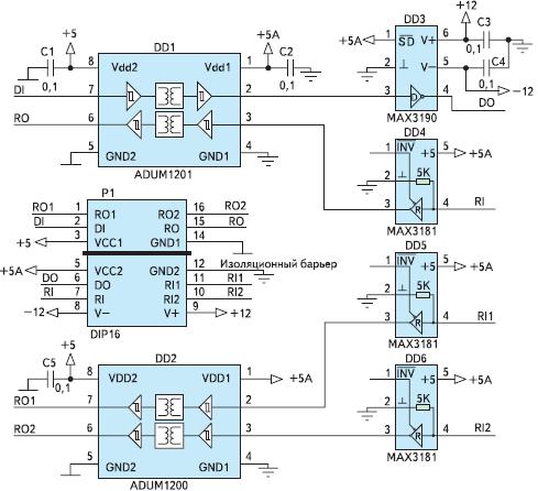Рис. 26. Схема гальванически изолированного преобразователя интерфейса ADUMAX на базе ADUM1201, ADUM1200, MAX3181 и MAX3190