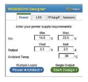 Окно запуска системы проектирования WEBENCH Power Designer