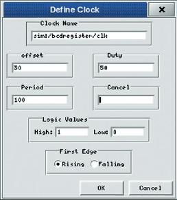 Рис. 4. Задание входной «частоты» для сигнала clk объекта bcdregister