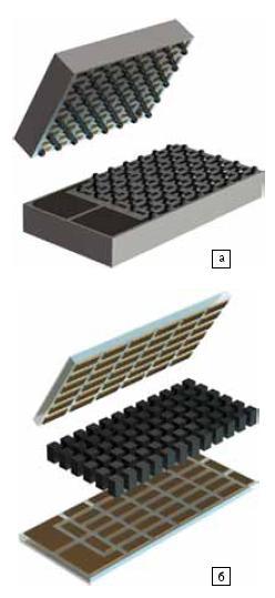 Конструкция микромодулей: а) тонкопленочного; б) объемного