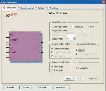 Страница Parameters заключительной диалоговой панели «мастера» настройки параметров ядра сумматора/вычитающего устройства Adder/Subtractor