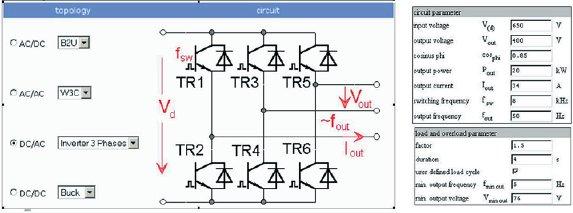 Рис. 2. Выбор конфигурации и типа схемы (здесь — 3-фазный инвертор), окно ввода исходных данных