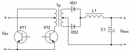 Схема двухтактного прямоходового преобразователя