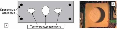 а) Основание модуля при неоднородном (зонном) нанесении пасты; б) повреждение изолирующей подложки из-за превышения толщины слоя