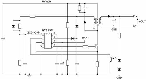 Типовая схема включения ШИМ-контроллера NCP1379