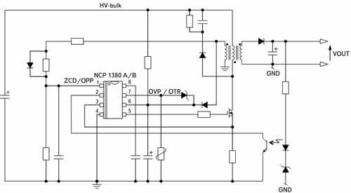 Типовая схема включения модификаций микросхем NCP1380A/B