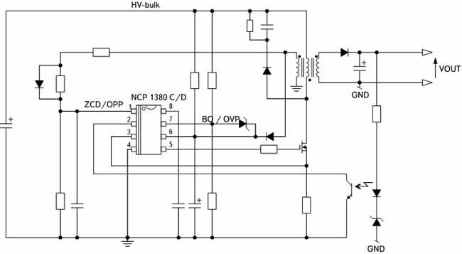 Типовая схема включения модификаций микросхем NCP1380C/D