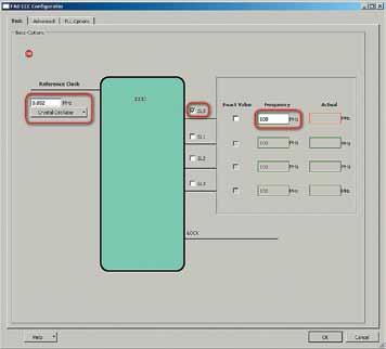Окно конфигурации IP-ядра формирователя тактовой частоты