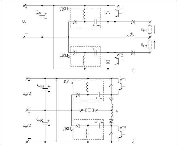 Схемы нерегулируемых двухтактных инверторов с рекуперацией энергии ДКЦ в источник