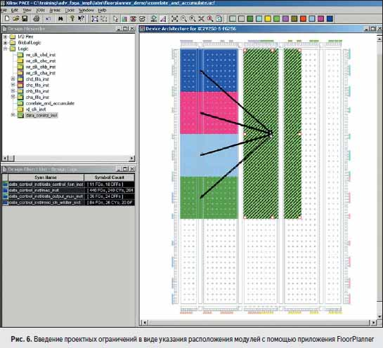 Введение проектных ограничений в виде указания расположения модулей с помощью приложения FloorPlanner