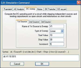 Рис. 32. Задание параметров .DC-анализа