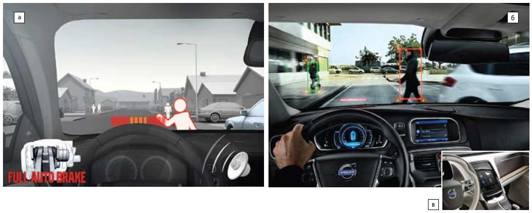 HUD отVolvo всистемах защиты пешеходов идругие дисплейные технологии