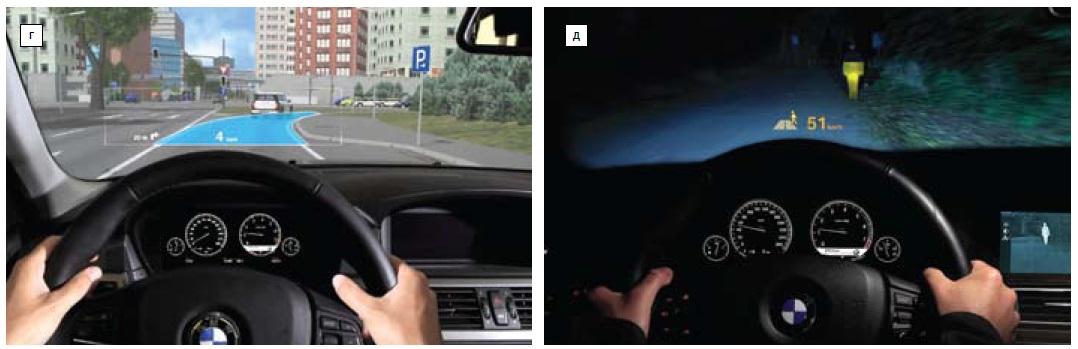 Контактно-аналоговые HUD вавтомобилях BMW