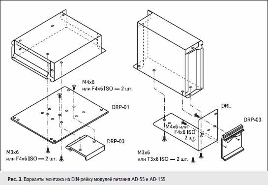 Варианты монтажа на DIN-рейку модулей питания AD-55 и AD-155