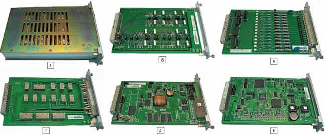 Набор универсальных функциональных модулей (220x145 мм), выполненных на отдельных печатных платах, из которых состоят различные МУРЗ, производства компании Nari-Relays. PCS-931 (дифференциальная защита линий), PSC-902 (дистанционная защита) и др.: а) модуль входных трансформаторов тока и напряжения; б) узкополосный фильтр (антиалиазинговый фильтр); в) модуль цифровых входов; г) модуль выходных реле; д) модуль оптической связи; е) модуль центрального процессора