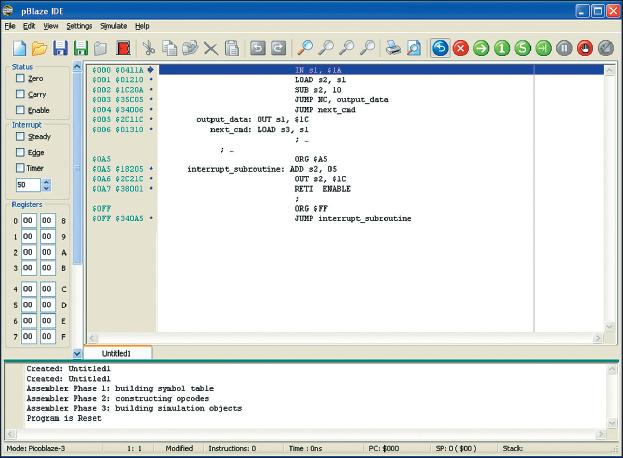 Рис. 1. Вид основного окна отладчика pBlaze IDE с результатами трансляции фрагмента исходного текста микропроцессорной программы, демонстрирующего применение директивы ORG