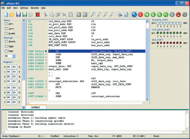 Рис. 2. Вид основного окна отладчика pBlaze IDE с результатами трансляции фрагмента, демонстрирующего использование директив DSIN, DSOUT и DSIO
